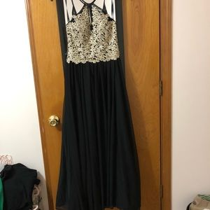 Black prom dress with gold detailing